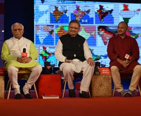 Manish Sisodia, Devendra Fadnavis, M.L. Khattar, Harish Rawat and Raman Singh at India Today Conclave 2015.