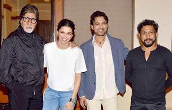Amitabh Bachchan, Deepika Padukone, Irrfan and Shoojit Sircar were in Mumbai for a press conference of Piku.