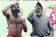 Prepping for Yoga Day with Baba Ramdev