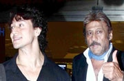 Airport spotting: Tiger Shroff and father Jackie Shroff leave for IIFA