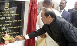 "Chief Minister of Jharkhand Raghubar Das and state Governor draupadi Murmu attend ""Bhoomi Pujan"" of the new Jharjhand Bhawan in New Delhi."