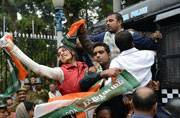 Congress workers staged a protest in Kolkata on Wednesday over the suicide of a Dalit student in the University of Hyderabad.