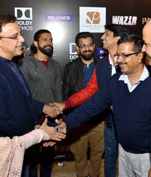 Delhi CM Arvind Kejriwal watched Bejoy Nambiar's upcoming film Wazir with its cast including producer Vidhu Vinod Chopra, writer Abhijat Joshi and actors Farhan Akhtar and Aditi Rao Hydari.