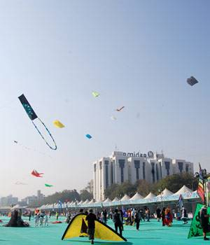 A riot of colours high up on the blue skies -- that's what a hundred beautiful kites can do. Gujarat's International Kite Festival sends out a message of joy, as winter season starts changing to summer and farmers welcome the approaching harvest season.