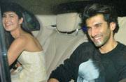 Katrina Kaif and Aditya Roy Kapur came together for the screening of their upcoming film Fitoor.