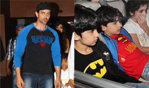 Batman v Superman Dawn of Justice has hit the screens today (March 25) and is a American superhero film featuring the DC Comics characters Batman and Superman. Hrithik Roshan and his kids Hrehaan and Hridhaan were snapped at a special screening in Mumbai.