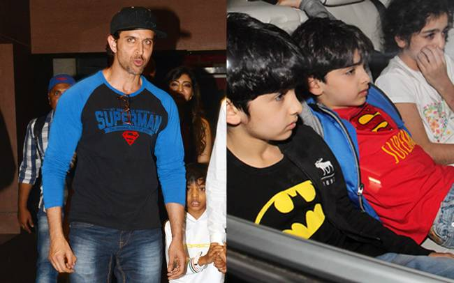 Batman V Superman Hrithik Roshan And His Sons Hrehaan Hridhaan