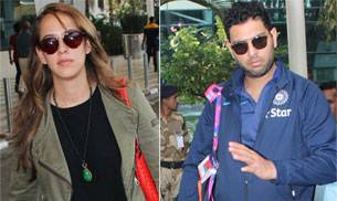 While Hazel Keech and Yuvraj Singh were spotted at Mumbai airport, Akshay Kumar and Twinkle Khanna were snapped at Mehboob Studios.