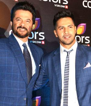 The hottest names from the television and film industry descended on the Colors red carpet to be part of the gala annual bash thrown by Colors TV. Blue Dudes: Anil Kapoor and Varun Dhawan strike a pose for the shutterbugs.