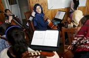 Fakria Azizi, a member of Kabul's Zohra orchestra.