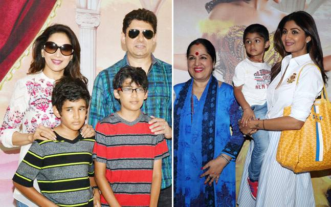 Madhuri Dixit and Shilpa Shetty with their families.