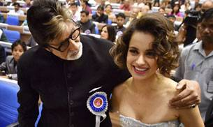 63rd National Films Awards ceremony was held in Delhi on Tuesday in a grand fashion. Winners including Amitabh Bachchan, SS Rajamouli, Kangana Ranaut were honoured by President Pranab Mukherjee. Union ministers Arun Jaitley and Rajyavardhan Singh Rathore