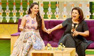 Tennis sensation Sania Mirza and Bollywood choreographer-filmmaker Farah Khan shot for an upcoming episode of The Kapil Sharma Show. Check out the pics.