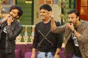 Great Grand Masti team--Vivek Oberoi, Riteish Deshmukh, Aftab Shivdasani, Urvashi Rautela and the director of the film Indra Kumar visited the sets of The Kapil Sharma Show to promote their upcoming film. Here are the pics.