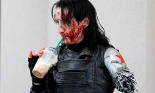 A man dressed up as the Winter Soldier.