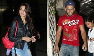 Jacqueline Fernandez was seen leaving the airport, while Ranveer Singh was spotted in a bright red t-shirt outside a popular restaurant in Bandra