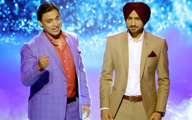Harbhajan Singh, Shoaib Akhtar are all set to make their reality TV debut with Ekta Kapoor's comedy reality challenge Mazaak Mazaak Mein (earlier titled Indian Mazaak League). Check out their pictures as they shoot for its promo.
