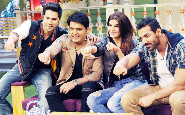 The Dishoom stars--Varun Dhawan, Jacqueline Fernandez, and John Abraham--were on the sets of The Kapil Sharma Show to promote their movie.