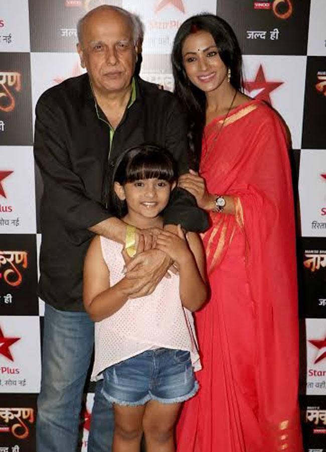 Mahesh Bhatt, Barkha Bisht, and Arsheen Namdaar at the launch of the show.