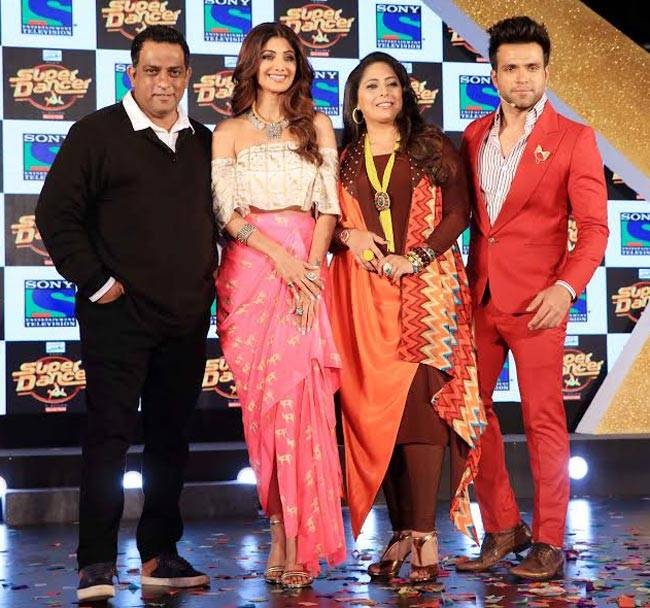 Anurag Basu, Shilpa Shetty, Geeta Kapur, and Rithvik Dhanjani at the launch of Super Dancer.