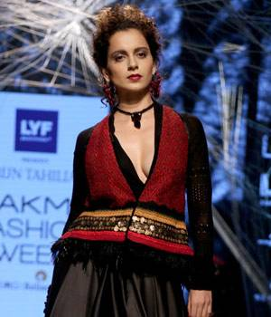 For his Autumn-Winter collection, Tahiliani has played with earthy tones, including re-imagined renditions of ravishing red, cobalt blue, charcoal, olive and rust-orange. And what better way to put a ravishing end to the collection than with Kangana Ranau