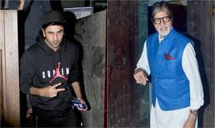 Amitabh Bachchan was seen at the Aadesh Srivastav studios for a recording, while Ranbir Kapoor was seen exiting suburban restaurant Indigo with friend/director Ayan Mukherji.