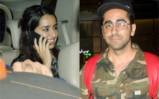 While Shraddha Kapoor was seen at Ritesh Sidhwani's party with cast members of Rock On 2, Ayushmann Khurrana was seen exiting the International airport.