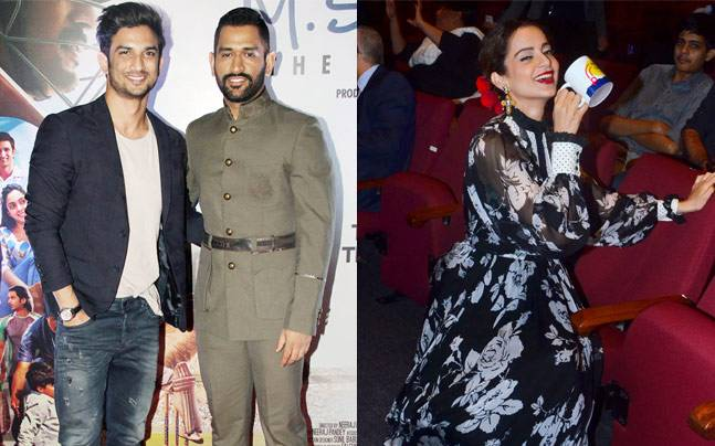 While MS Dhoni and reel-life Dhoni, Sushant Singh Rajput, were seen at the premiere of MS Dhoni: The Untold Story, Kangana Ranaut unveiled the trophy at the Jio MAMI 18th Mumbai Film Festival.