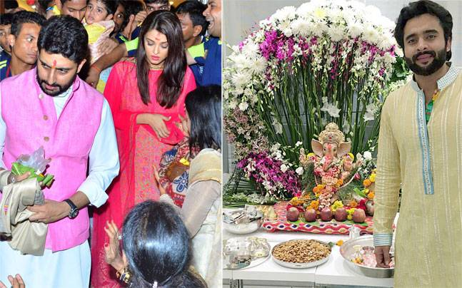 Abhi-Ash were spotted offering their prayers to the Ganesh Idol at Byculla, while Jackky Bhagnani organised a puja at his place of residence.