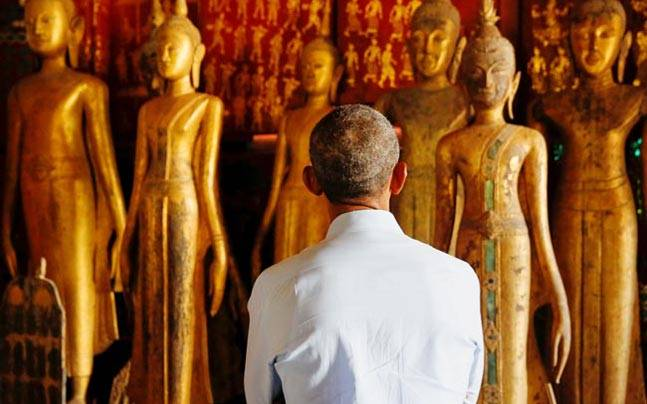 US President Barack Obama visits the Wat Xieng Thong Buddhist temple in Laos.