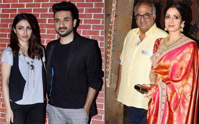 While actors Soha Ali Khan and Vir Das promote their upcoming thriller 31st October, Sridevi was seen celebrating Karva Chauth with hubby Boney Kapoor.