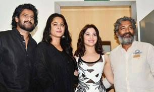 The father of Baahubali, SS Rajamouli and the lead actors- Prabhas, Anushka Shetty and Tamannaah were snapped at the first look launch of the much-anticipated Baahubali: The Conclusion.