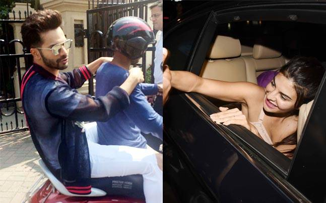 Varun Dhawan hitched a bike ride to save time, and Jacqueline Fernandez interacted with fans after coming out of Yauatcha, a restaurant in BKC.