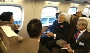 PM Modi took a ride on the famous Shinkansen bullet train in Tokyo today and visited the Kawasaki Plant. (Twitter: PMO India)