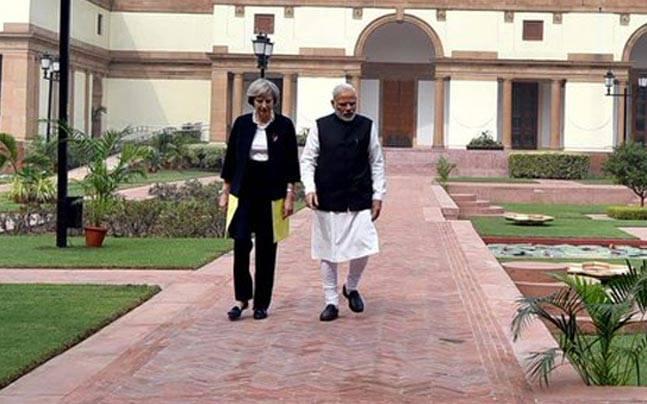 British PM Theresa May with PM Narendra Modi