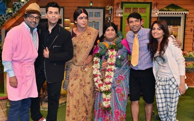 Karan Johar with the cast of The Kapil Sharma Show
