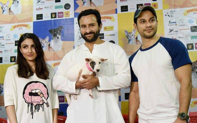 Saif Ali Khan, sister Soha Ali Khan and brother-in-law Kunal Kemmu were snapped at a pet adoption event.