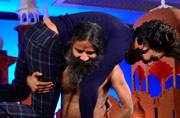 Ranveer Singh was left huffing and puffing when he insisted Baba Ramdev dance with him on the Agenda Aaj Tak 2016 stage.