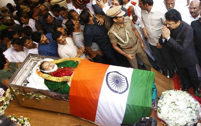Jayalalithaa's tricolour draped body