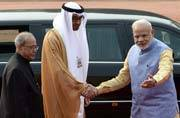 In pictures: President Pranab Mukherjee and Prime Minster Narendra Modi welcome Abu Dhabi Crown Prince Mohammed Bin Zayed in New Delhi