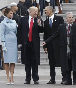 President Donald Trump and former president Barack Obama with Michelle Obama and Melania Trump.