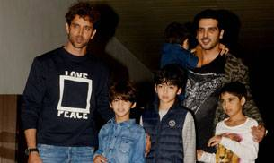 Hrithik Roshan was accompanied by his sons- Hrehaan and Hridhaan for his 43rd birthday. The Krrish 3 actor celebrated his special days with his family and close friends.