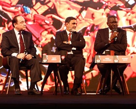 Liz Mohn, Elhadj As Sy, Venu Rajamony, Riad Abbas discuss refugee crisis at India Today Conclave 2017