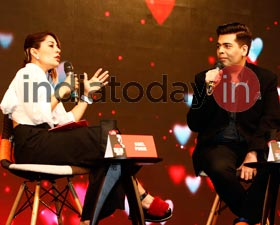 Karan Johar and Koel Purie at India Today Conclave 2017