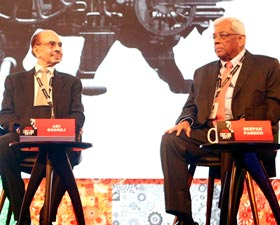Godrej Group Chairman Adi Godrej and Housing Development Finance Corporation (HDFC) Chairman Deepak Parekh