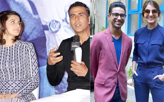 Taapsee Pannu and Akshay Kumar (L) and Anushka Sharma and Suraj Sharma