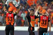 Rashid Khan of Sunrisers Hyderabad celebrates wicket of Aron Finch, finshing with man of the match figures of 3-11 (BCCI Photo)