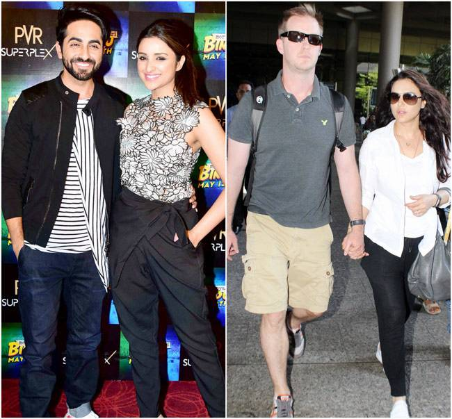 With a day left for Meri Pyaari Bindu to hit the screens, Ayushmann Khurrana and Parineeti Chopra are busy with the promotions. On the other hand, Preity Zinta was spotted with husband Gene Goodenough at airport.