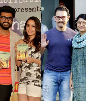 Arjun Kapoor and Shraddha Kapoor came together for the launch of Chetan Bhagat's Half Girflriend. On the other hand, Aamir Khan was spotted with his wife Kiran Rao at Kalina airport in Mumbai.