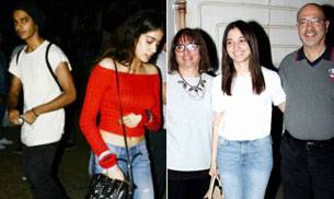 Sridevi's elder daughter Jhanvi Kapoor and Shahid Kapoor's younger brother Ishaan Khattar were clicked together on a movie date, while Tamannaah watched her film Baahubali 2: The Conclusion with her parents.